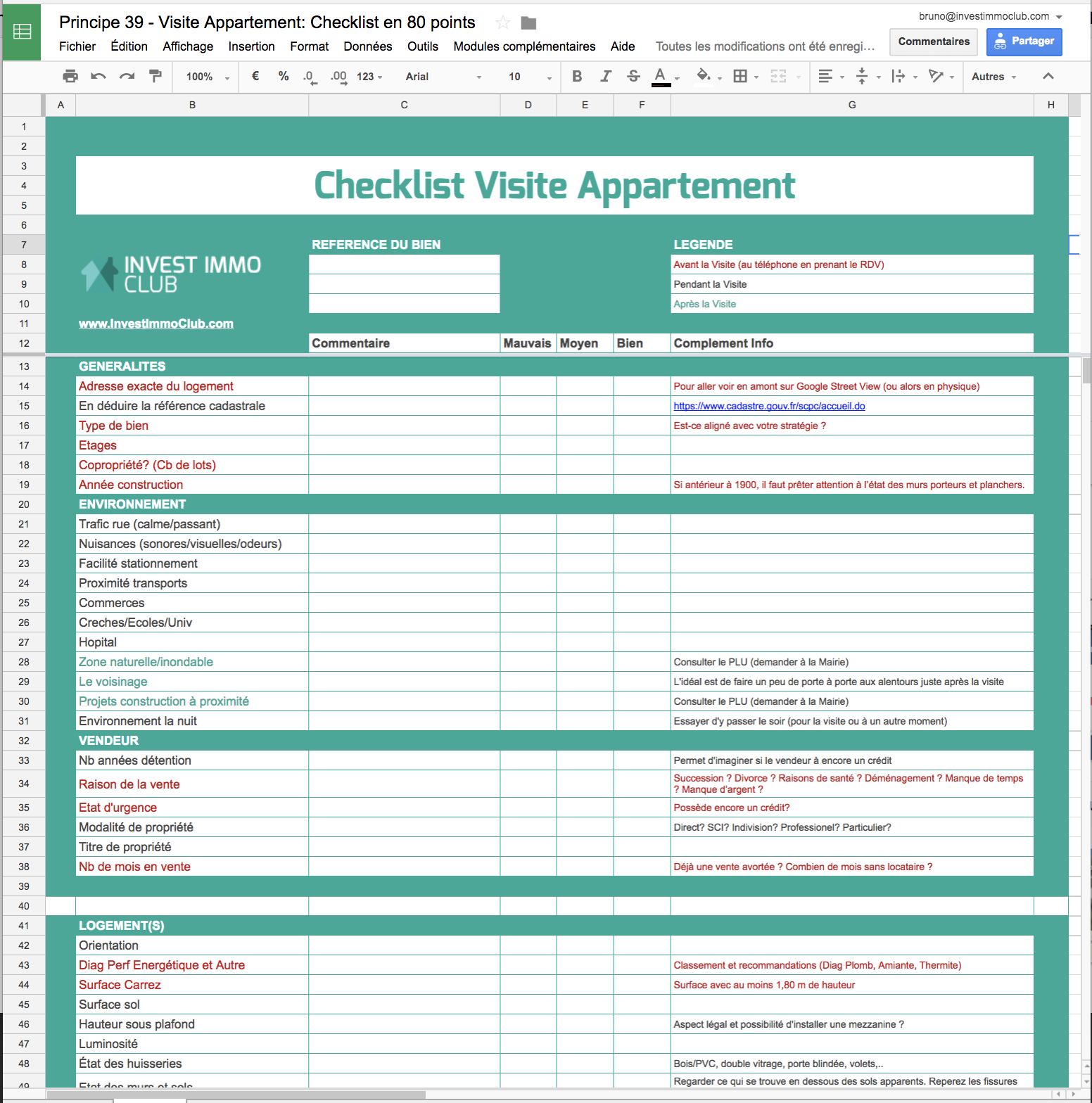 107 Principes Immobiliers - Visite Appartement Checklist