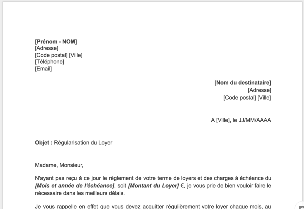 lettre loyer impayé Impayé de Loyer et Expulsion: Quelle Procédure Suivre ? lettre loyer impayé